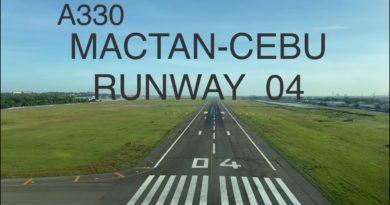 Airbus A 330 Mactan Landebahn 04 - Landung aus dem Cockpit